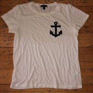 Super cute J Crew tee with flannel pattern anchor